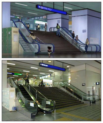 L'escalator d'accés à la gare de Neyagawa