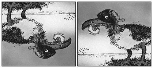 Le canoe et le poisson ou le gros oiseau
